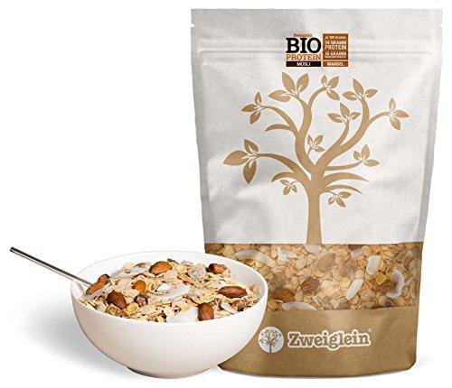 Zweiglein Bio Protein Low Carb Müsli Mandel, 2er Pack (2 x 535g) - 34g Protein und nur 10g Kohlenhydrate je 100g - ohne Zuckerzusatz - glutenfrei