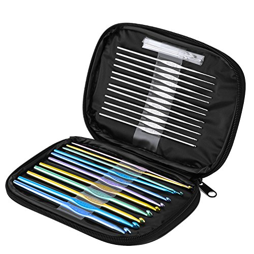 Blulu 23 Pieces Handle Aluminum Crochet Hooks Set with Scales and 6 (Aluminum Crochet Hook Set)