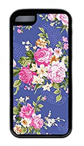 LINMM58281Flower Pattern Custom Personalized Design DIY Back Case for iphone 5/5s TPU Black -1210067MEIMEI