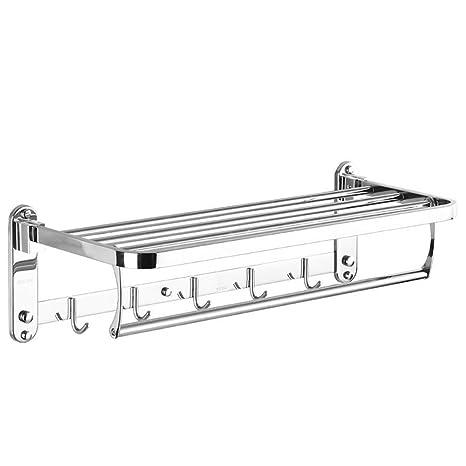 Foccoe plegable toalla estantes con toallero de barra soporte de pared baño estante con ganchos toallero de acero inoxidable pulido (tamaño: 60 * 22,5 ...