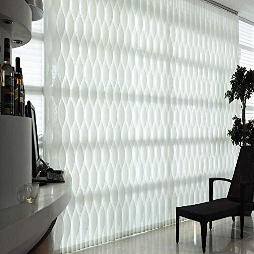 Custom Made S Wave Vertical Blinds Window Vertical S Slat Fabric Curtain Shades Model S-Wave,Listed Price at 1pc,39″ W x 39″ L,Color:White Finished Product