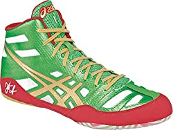 Asics Jb Elite Mens Wrestling Shoe 8.5 Green-gold-white