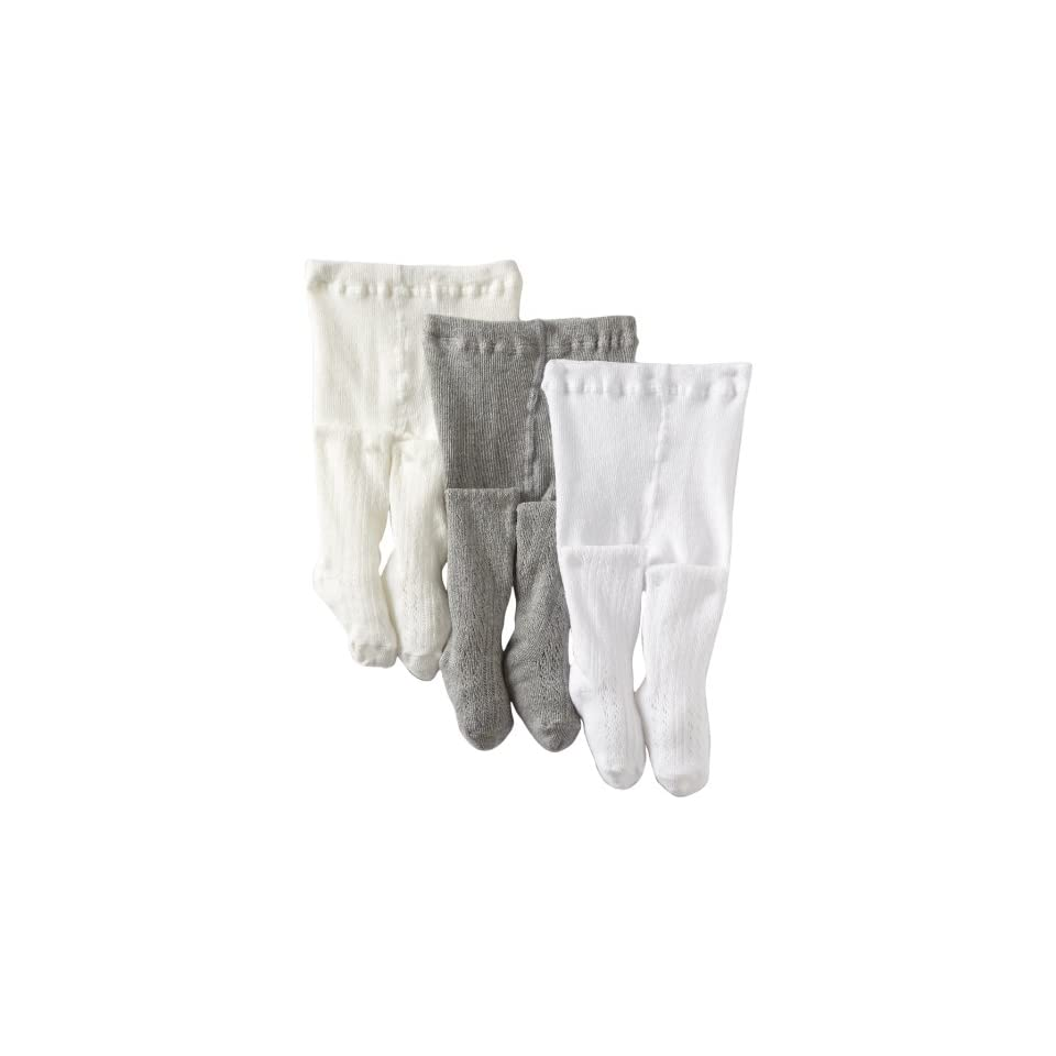 Country Kids Baby Girls Cotton Pellerine 3 Pair Tights, White/Ivory/Grey, 12 24 Months