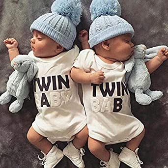 Frecoccialo Neugeborenes Unisex Baby Strampler Zwillinge Bodys Baumwolle Sommer Kurzarm Achselbody in Unifarben f/ür Baby 0-18 Monate