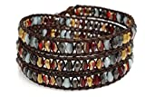 Women's Beaded Wrap Bracelet, Gold, Red, Brown and Black Teardrop Faceted Beads, Handmade 3 Wrap