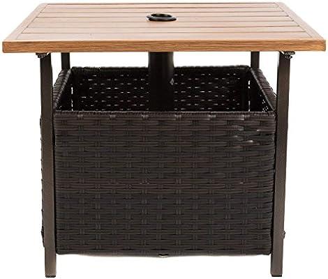 Amazon Com Naturefun Outdoor Pe Wicker Square Bistro Side Table