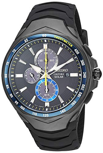 Pulsar Rubber Watch - Seiko ' COUTURA' Quartz Stainless Steel and Silicone Dress Watch, Color:Black (Model: SSC697)