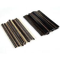 Baimeixun 20Pairs/40Pcs 40 Pin 2.54mm Male & Female SIL Header Socket Row Strip PCB Connector