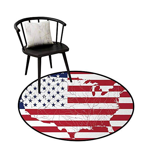 Absorbent Round Rug American Flag Easy to Care America Continent Shaped Flag Martial Design International World Glory Print Navy Red D16(40cm)