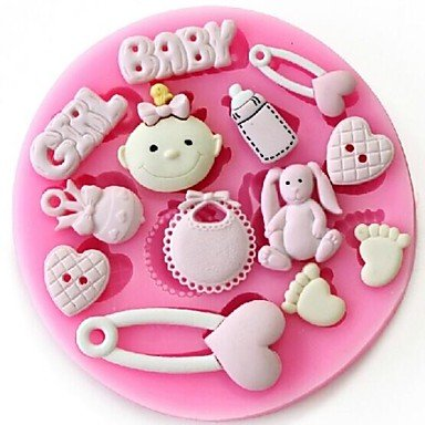 Party Supplies Baby Girl Fondant Cake Chocolate Resin Clay Candy Silicone Mold,L8.7cm*W8.7cm*H1cm