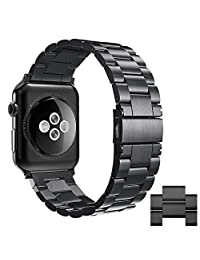 [New Release]Apple Watch Band,Simpeak Stainless Steel Band Strap for Apple Watch 42mm 38mm Series 1 Series 2 Series 3 (42mm, Black)