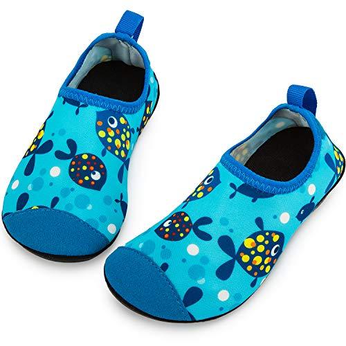 Crova Kids Water Shoes Quick Dry Aqua Socks Non-Slip Barefoot Sports Shoes for Boys Girls Toddler, Light Blue Fish, 13.5-1 M US Little Kid