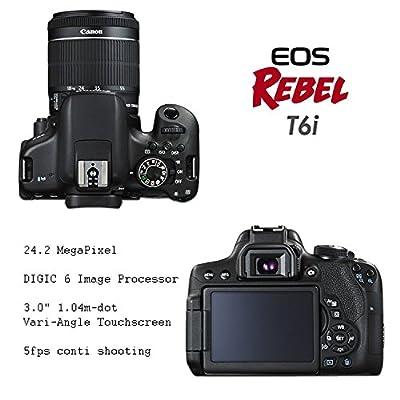 "Canon EOS Rebel T6i DSLR Camera EF-S 18-55mm f/3.5-5.6 is STM Lens + 2Pcs 32GB Sandisk SD Memory + Universal Flash + Battery Grip + Filter & Macro Kits + Backpack + 50"" Tripod + More"