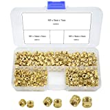 XLX 300PCS 3 Values M3 M4 M5 Knurled Brass Threaded Insert Nut Hydraulic Welded Joint Injection Molding Assortment Kit