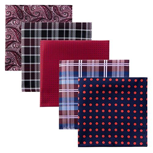 Retreez 5 Piece Assorted Woven Microfiber Premium Pocket Square Gift Box Set - Set 008