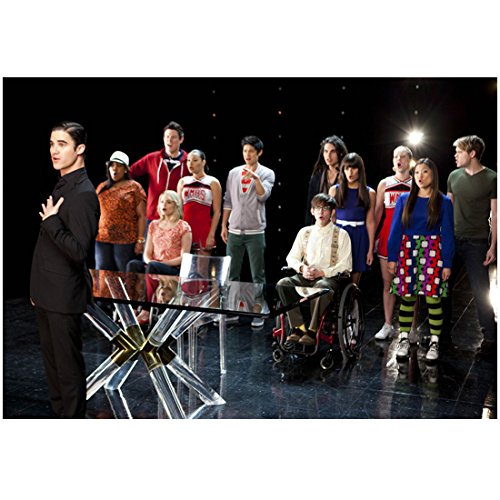 Glee (TV Series 2009 - 2015) 8 inch by 10 inch PHOTOGRAPH Glass Table Separating Choir & Darren Criss from Ankles Up - Criss Glasses Darren