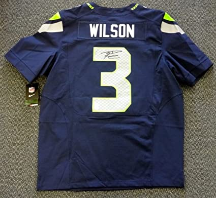 official photos 712b1 246cd Amazon.com: SEATTLE SEAHAWKS RUSSELL WILSON AUTOGRAPHED BLUE ...