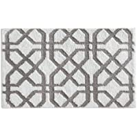 InterDesign Microfiber Rug, 34-Inch by 21-Inch, Stone/White