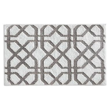 InterDesign Microfiber Rug, 34-Inch by 21-Inch, Stone/White