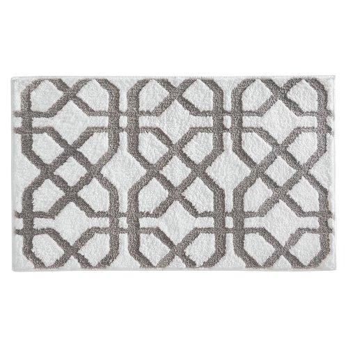(InterDesign Microfiber Rug, 34-Inch by 21-Inch, Stone/White)