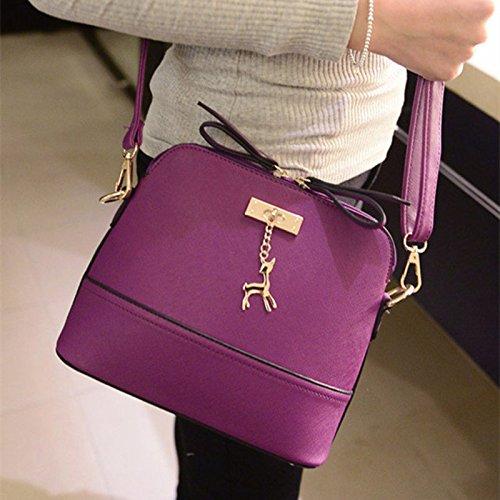 Pelle A Viola Spalla In Fulvo borse Lady Tracolla Handbag Pu Panpany 2 Fashion Portafoglio Messenger Donna Zip Borsa XCw41q