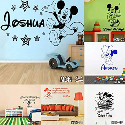 Amazon.com: Jewh Baby Mickey Mouse Warm Custom Name Wall Stickers - Decal Girls Boys Kids Room Wall Personalized Name Nursery Decoration (MCN17) (L): Home & ...