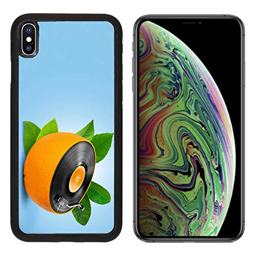 Luxlady Apple iPhone Xs MAX Case Aluminum Backplate Bumper Snap Cases Image ID: 23911081 Musical Background with a Vinyl disc and Orange