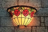 Gweat 13-inch Vintage Pastoral Stained Glass Tiffany Romantic Rose Wall Lamp Hallway Wall Sconce Lamp Fixture