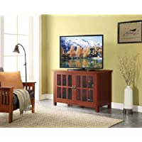 Modern Contemporary Red TV Stand and Console for TVs up to 55 for Flat Panel LCD or LED TVs Home Office Living Room Furniture Tempered Glass Doors