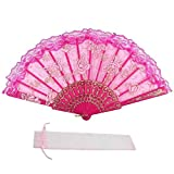 Newstarfactory Lace Flowers Design Plastic Folding Hand Held Fan with Exclusive Gift (Hot Pink)
