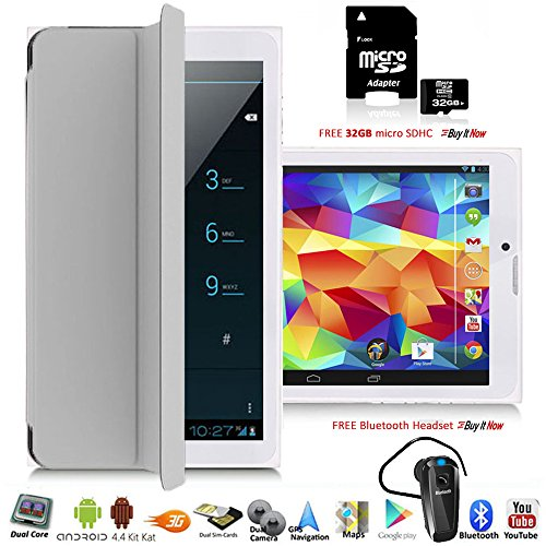 "Indigi 7"" Android 4.4 KitKat 3G Unlocked Dual-Sim Phablet Phone & Tablet w/SmartCover & Bundle Included"