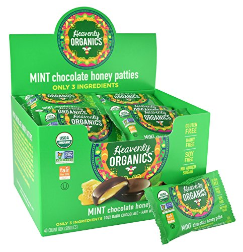 Heavenly Organics Honey Pattie, Chocolate Mint, (Pack of 40)