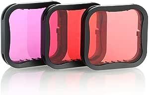 GoPro Hero 5 Hero 6 Hero 7 Black 3pcs Lens Filter Set for Waterproof Case