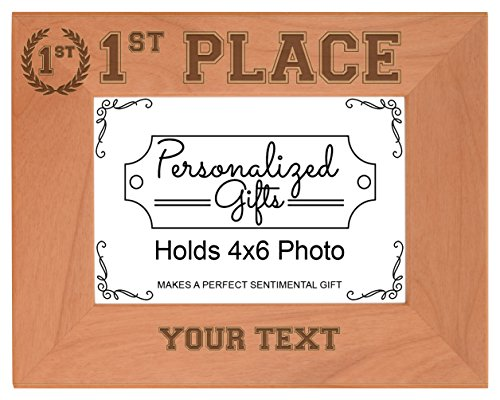 Custom 1st Place Sport Award Add Text Personalized Natural Wood Engraved 4x6 Landscape Picture Frame