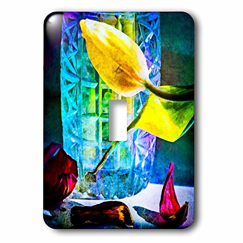 Vase Crystal Flora (3dRose Alexis Photography - Flowers Tulip - Sunlit tulips and crystal vase. Decay - Light Switch Covers - single toggle switch (lsp_267123_1))