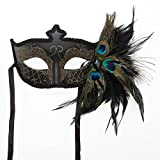 Black Venetian Half Feather Mask (style varies)