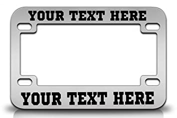 custom personalized steel chrome motorcycle license plate frame wsport font in black