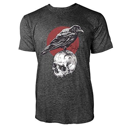 SINUS ART ® Rabe auf Totenschädel Herren T-Shirts in dunkelgrau Fun Shirt mit tollen Aufdruck