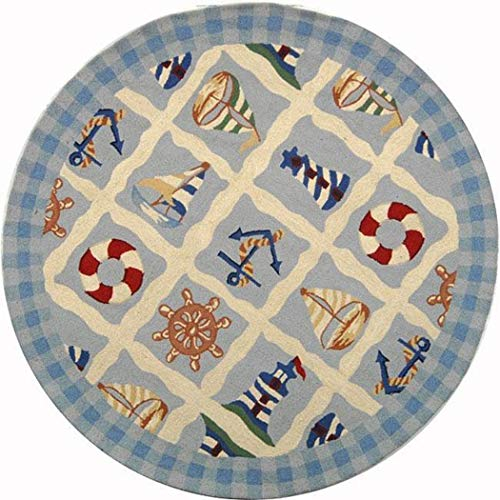 HT 1 Piece 4' Round Multi Colored Blue Anchor Area Rug Round, Indoor Novelty Boat Anchor Carpet Mat, Sailor Pattern Boating Coastal Nautical Sea Light Tower Sailboat Fishing Ocean Cottage, Wool