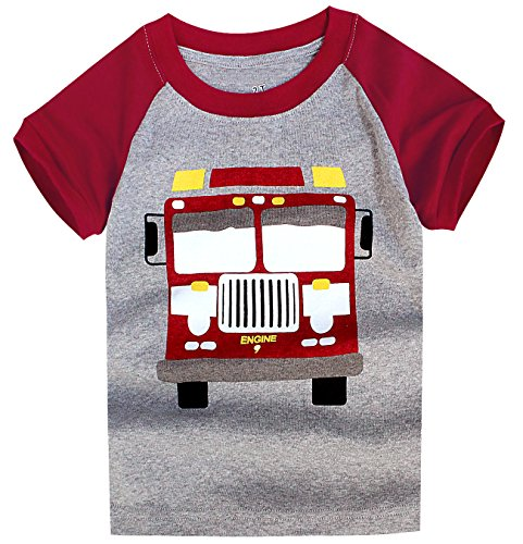 Little Boys Short Sleeve Fire Truck Tee Cotton Toddler/Infant Kids Casual T-Shirt (Fire Short Sleeve T-shirt)