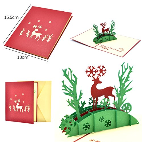 eZAKKA 3D Christmas Cards Pop Up Holiday Greeting Gifts Cards with Envelopes for Xmas Merry Christmas New Year, 5-Pack Photo #2