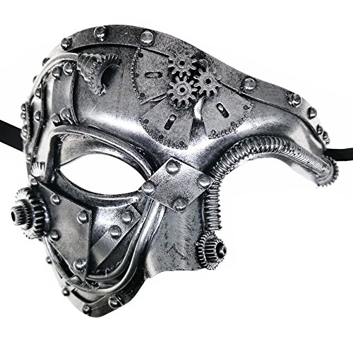 CCUFO Steam Punk Phantom of The Opera Vintage Silver Mechanical Men Venetian Mask for Masquerade/Party/Ball Prom/Mardi Gras/Wedding/Wall Decoration… -