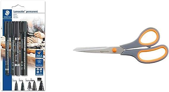 Image ofStaedtler Lumocolor permanent 60 BK Juego de rotuladores permanentes con diferentes puntas, 4 unidades en blíster & AmazonBasics - Tijeras con mango suave y cuchilla de titanio (20 cm, pack de 1)