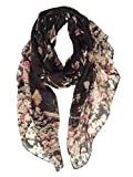 GERINLY - Lightweight Floral Birds Print Shawl Scarf For Christmas Season (Black)