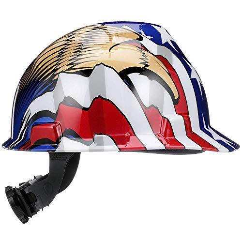 MSA 10052947 V-Gard Hard Hat Front Brim with Ratchet Suspension, Standard, American Flag w/ 2 Eagles (36 Pack) by ISP by MSA (Image #3)