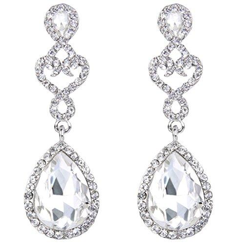 BriLove Women's Wedding Bridal Open Love Heart Teardrop Chandelier Dangle Earrings Silver-Tone Clear by BriLove