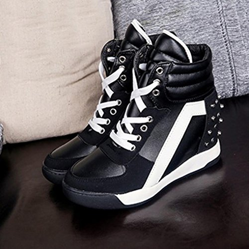 Shoes Autumn Rivet Black Travel Shoes Heel Women Hidden MRELT Promotion up Casual Big Lace FqzBxWw