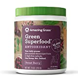 organic all day energy greens - Amazing Grass Green Superfood Antioxidant Organic Powder with Wheat Grass, Elderberry, and Greens, Flavor: Sweet Berry, 30 Servings