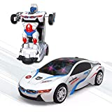 carro policia transformers vira robo 3 d com sons luzes led e movimento