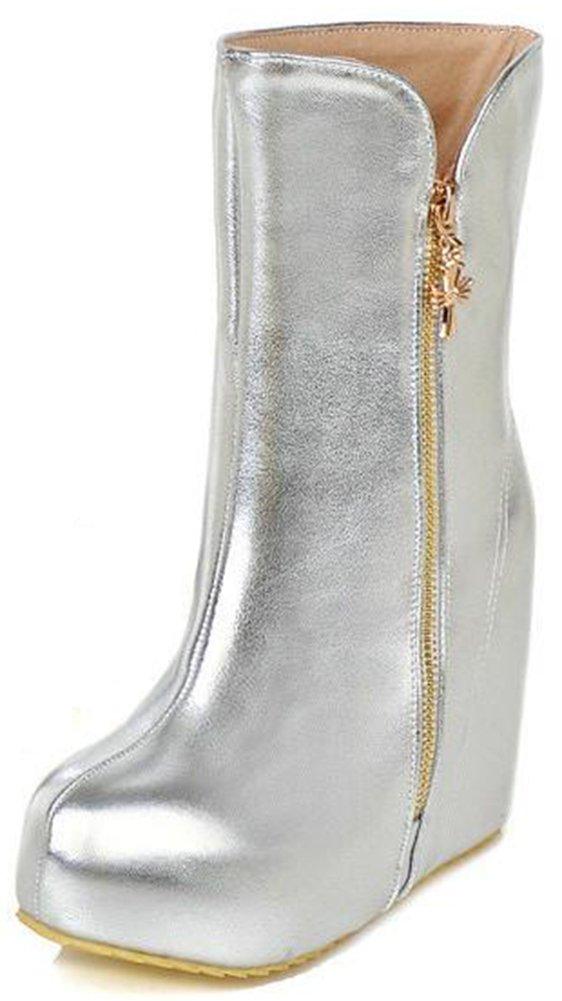 Summerwhisper Women's Trendy Round Toe Side Zipper Hidden Platform Wedge High Heel Mid Calf Boots Silver 9.5 B(M) US